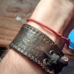 Red lace and leather bracelet